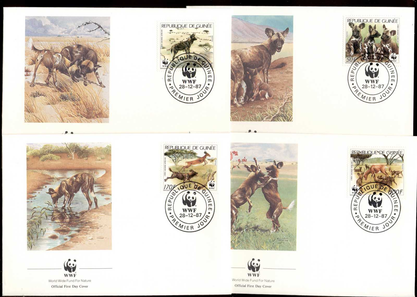 Guinea 1987 WWF African Wild Dog 4xFDC