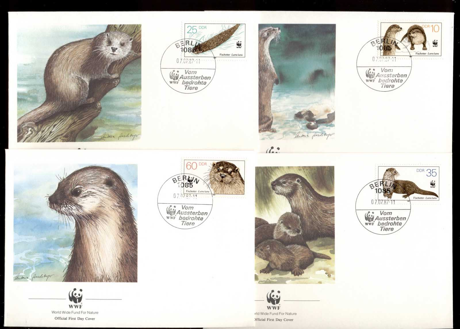 Germany DDR 1987 WWF European Otter 4xFDC