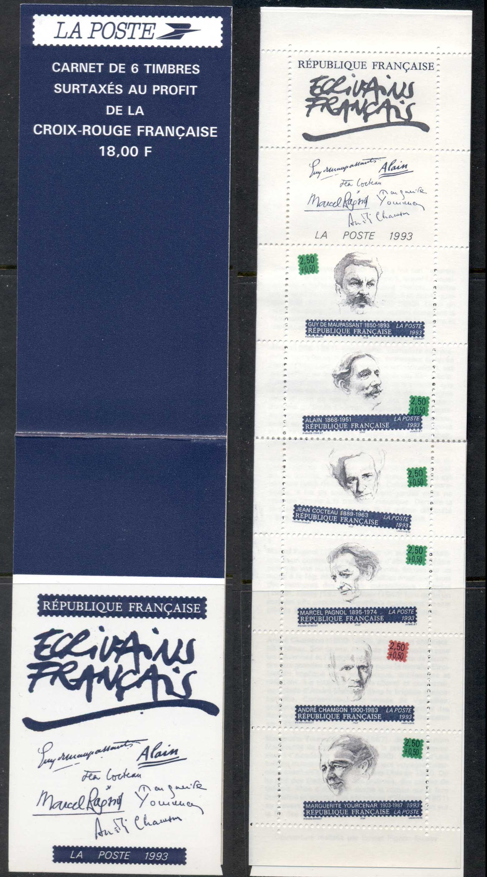 France 1993 Welfare, French Writers booklet MUH