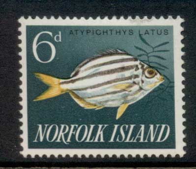 Norfolk Is 1962-64 Pictorials, Fish 6d MLH
