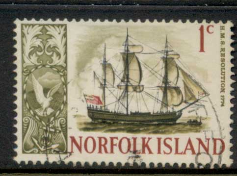 Norfolk Is 1967-68 Pictorials, Ships 1c FU