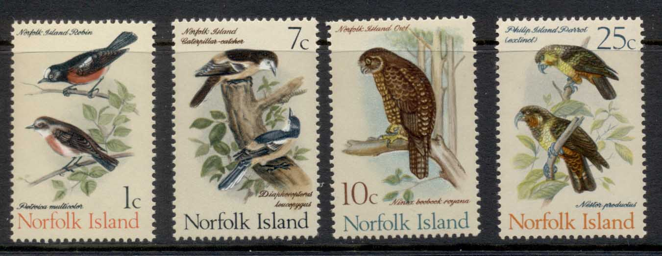 Norfolk Is 1970 Birds 1,7,10,25c MUH