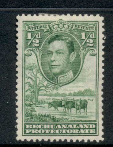 Bechuanaland Protectorate 1938 KGVI Pictorial, Cattle 0.5d MLH