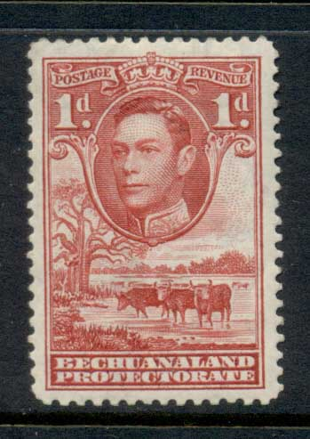 Bechuanaland Protectorate 1938 KGVI Pictorial, Cattle 1d MLH