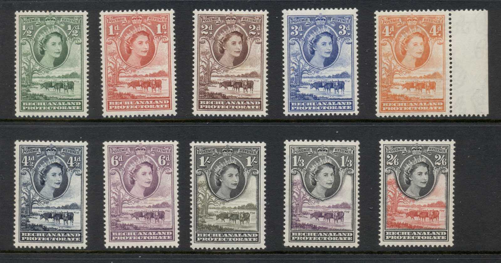 Bechuanaland Protectorate 1955-58 QEII Pictorials, Cattle to 2/6d MUH