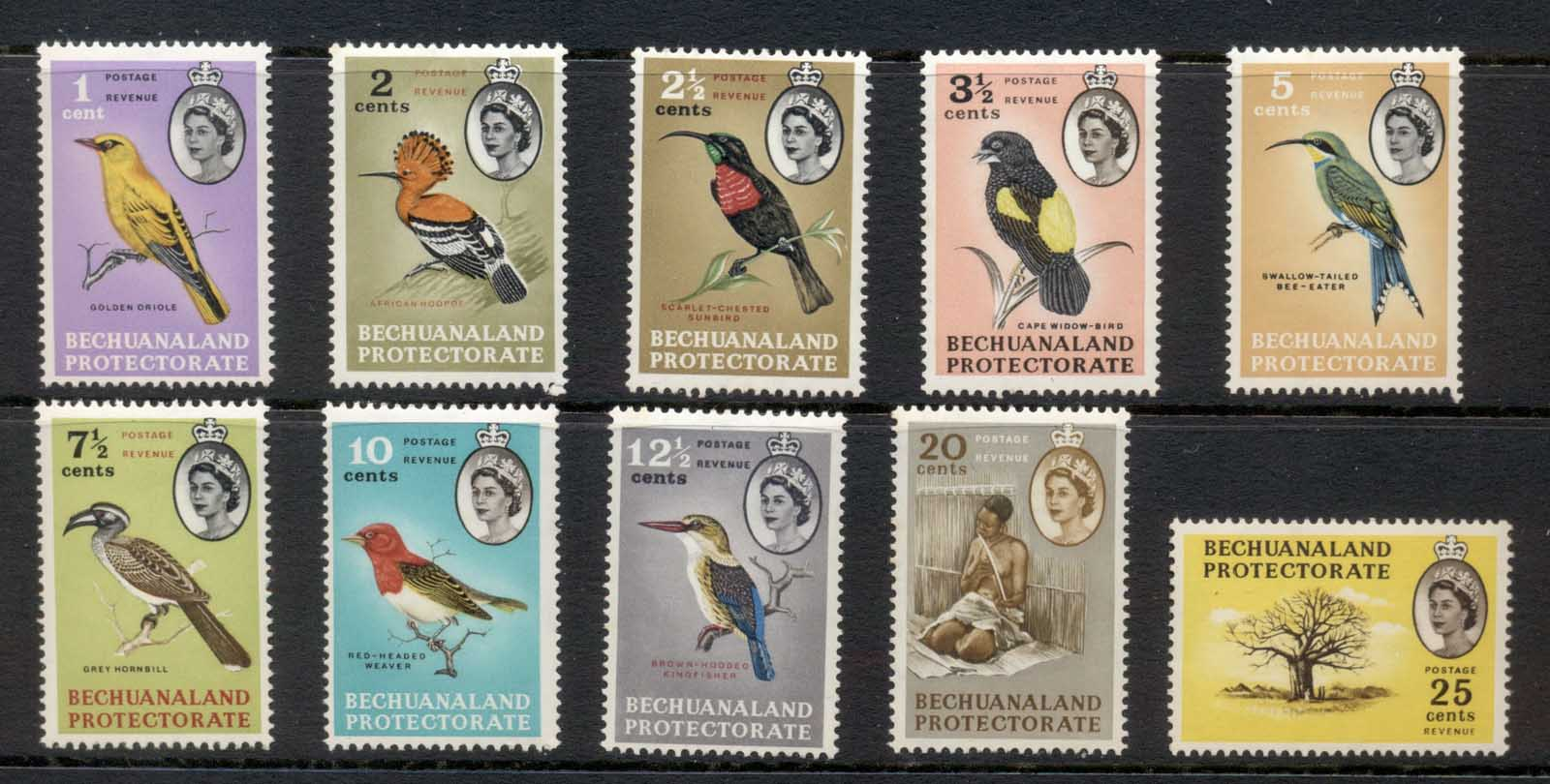 Bechuanaland Protectorate 1961 QEII Pictorials, Birds to 25c MUH