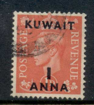 Kuwait 1948-49 KGVI GB Opts 1a on 1d FU
