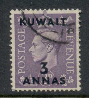 Kuwait 1948-49 KGVI GB Opts 3a on 3d FU
