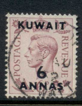 Kuwait 1948-49 KGVI GB Opts 6a on 6d FU