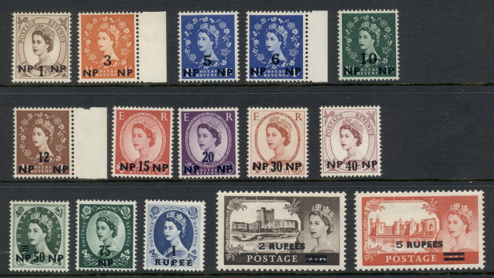 Muscat & Oman 1960-61 QEII Wildings & Castles Opts on GB MUH