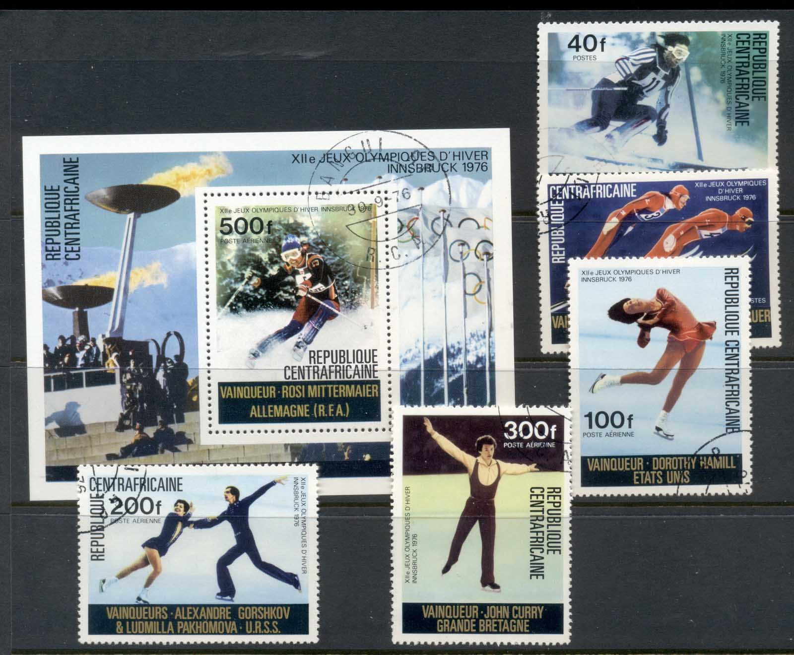 Central African Republic 1976 Winter Olympics Innsbruck Winners + MS CTO