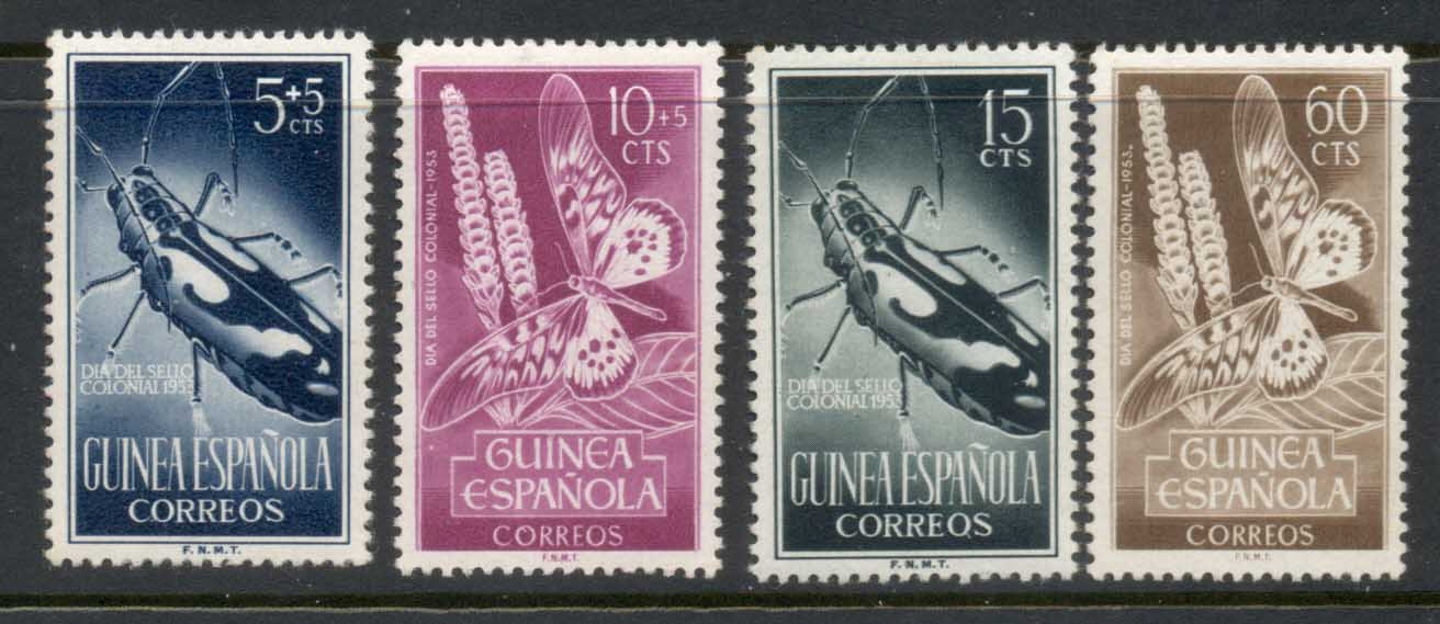 Spanish Guinea 1953 Colonial Stamp day Insects MLH