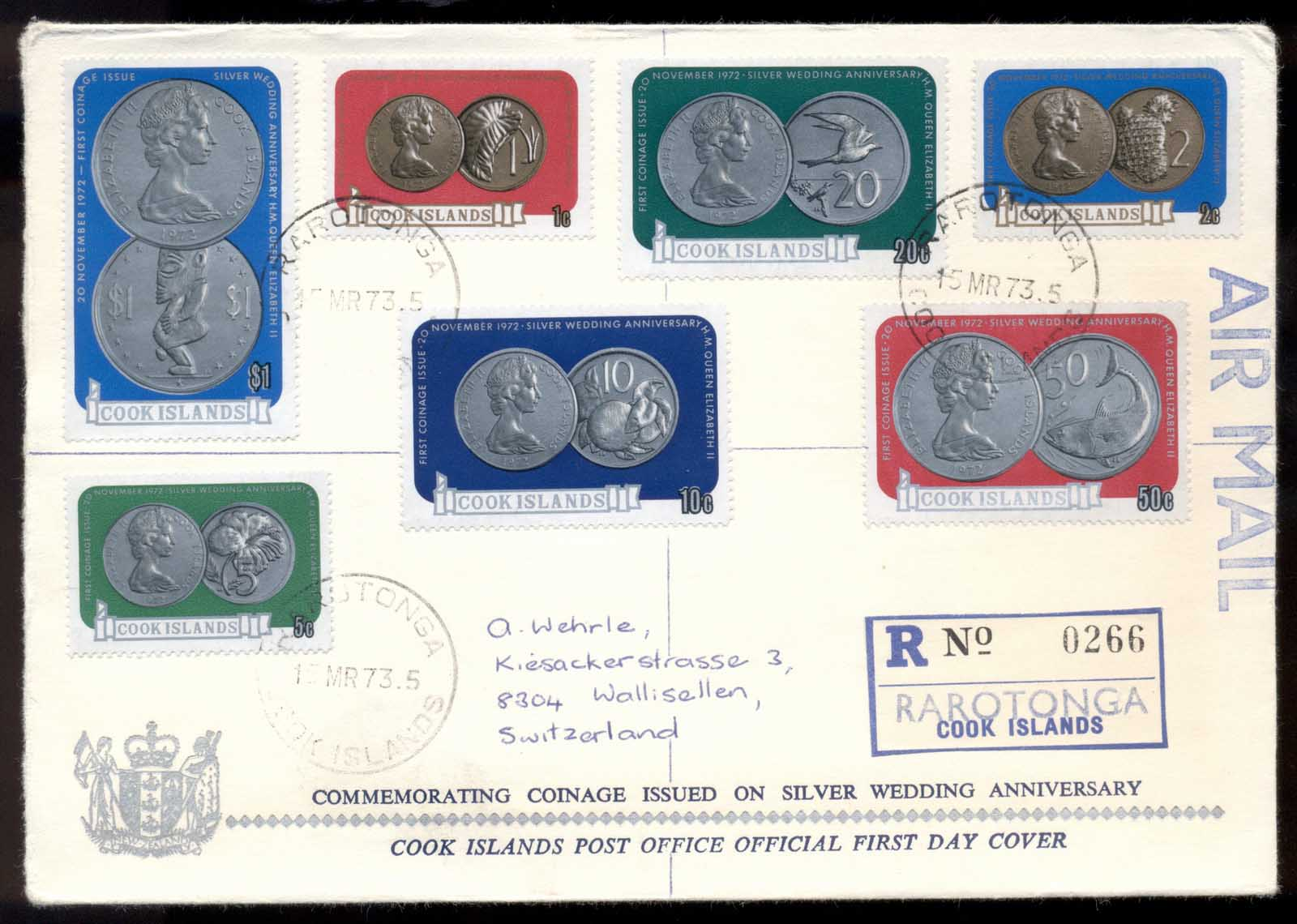 Cook Is 1973 Silver Wedding Coinage FDC