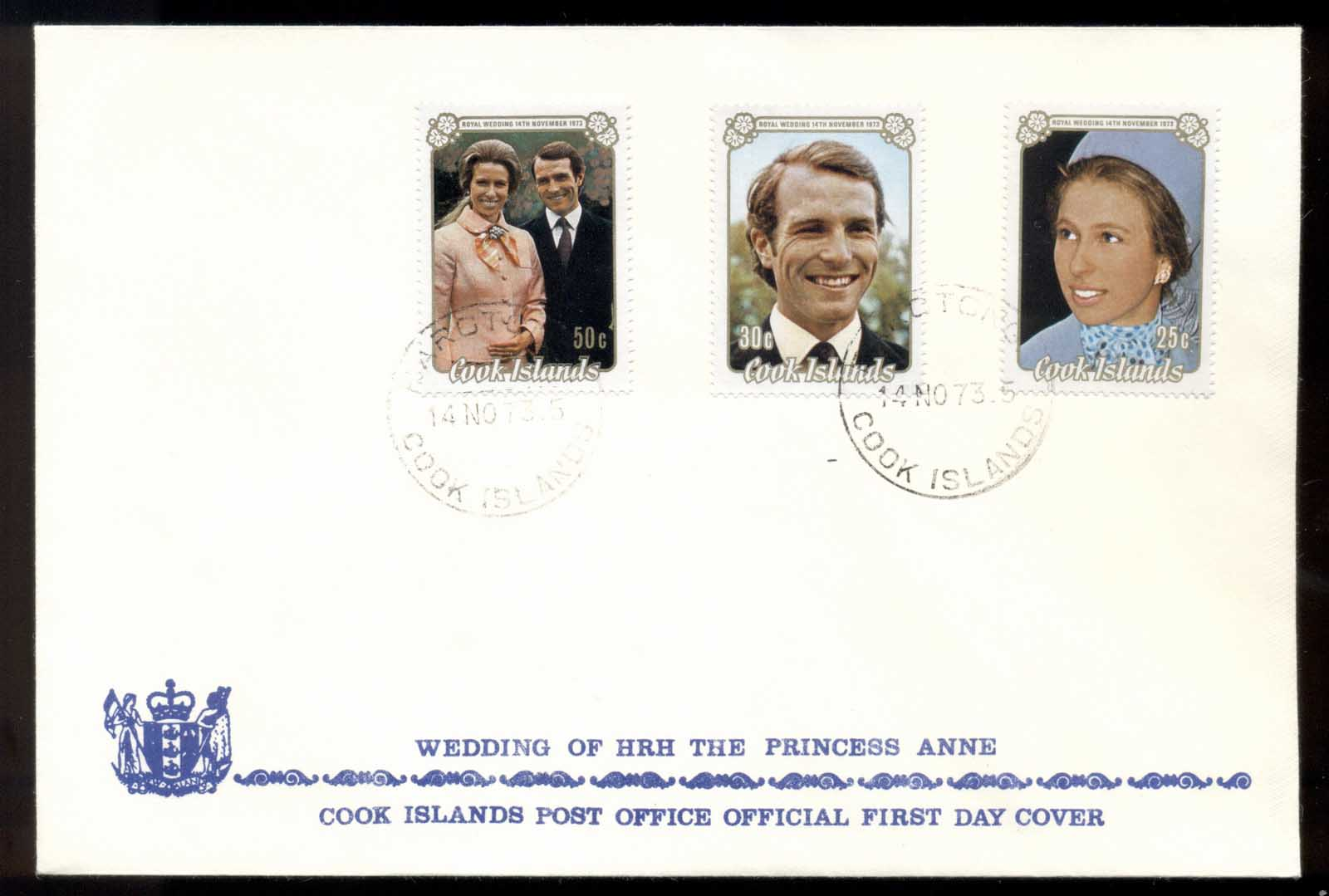 Cook Is 1973 Royal Wedding Princess Anne FDC