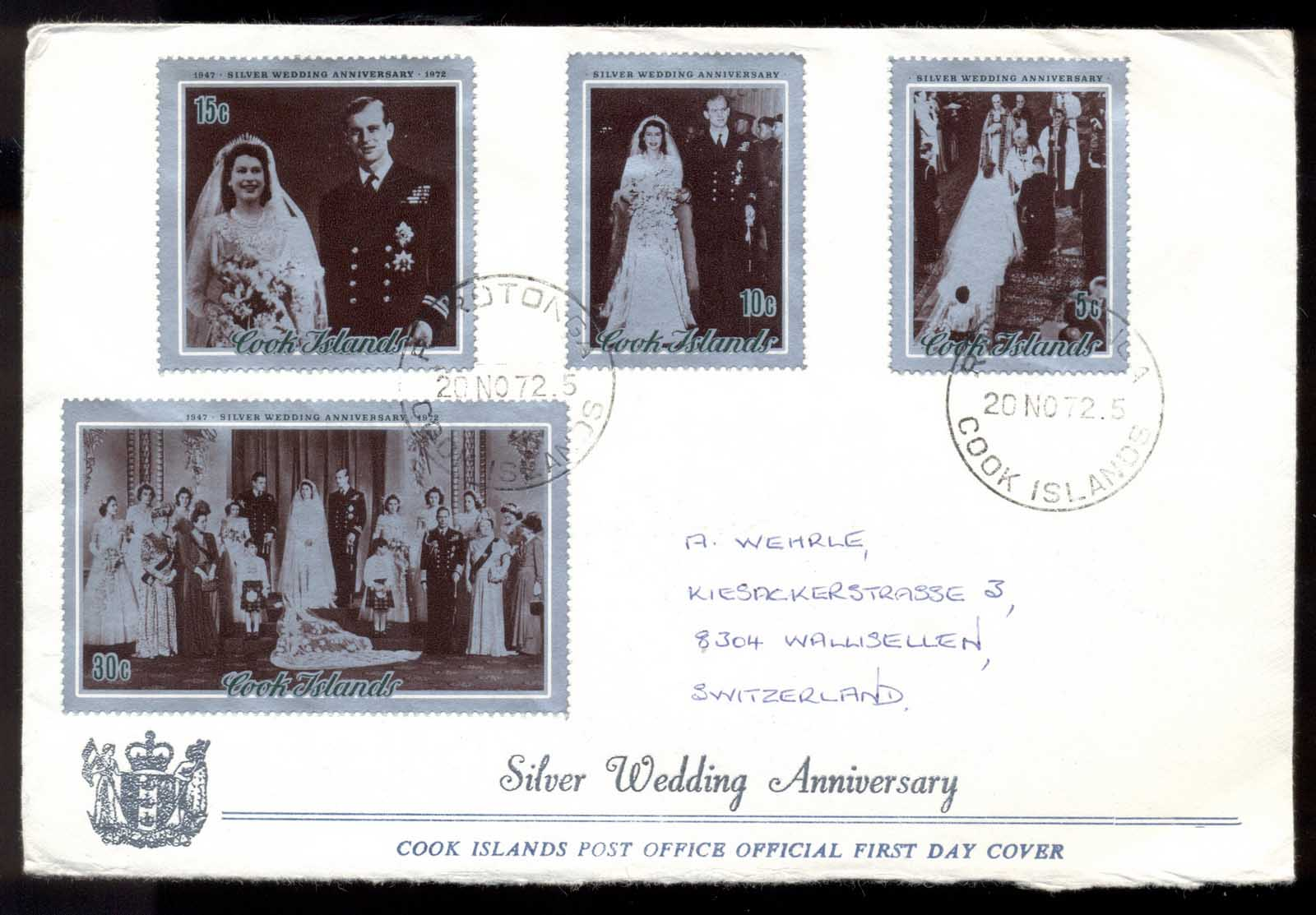 Cook Is 1972 Silver Wedding Anniv. FDC