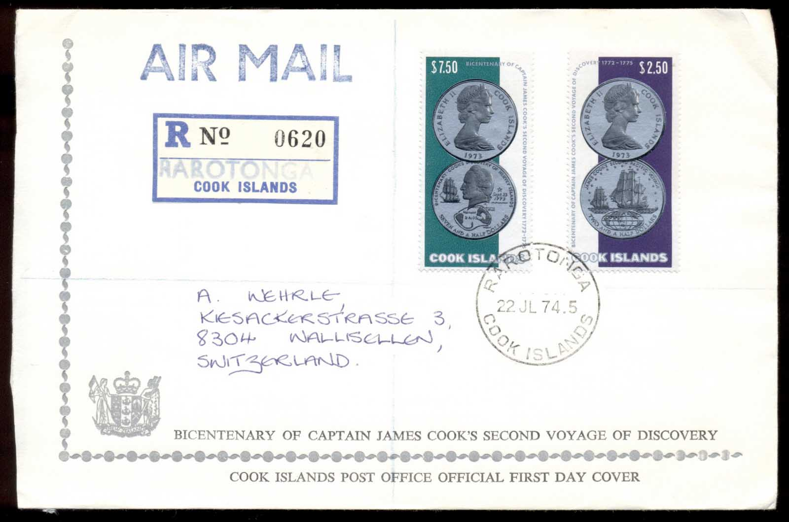 Cook Is 1974 Capt. Cook Second voyage, no flap FDC