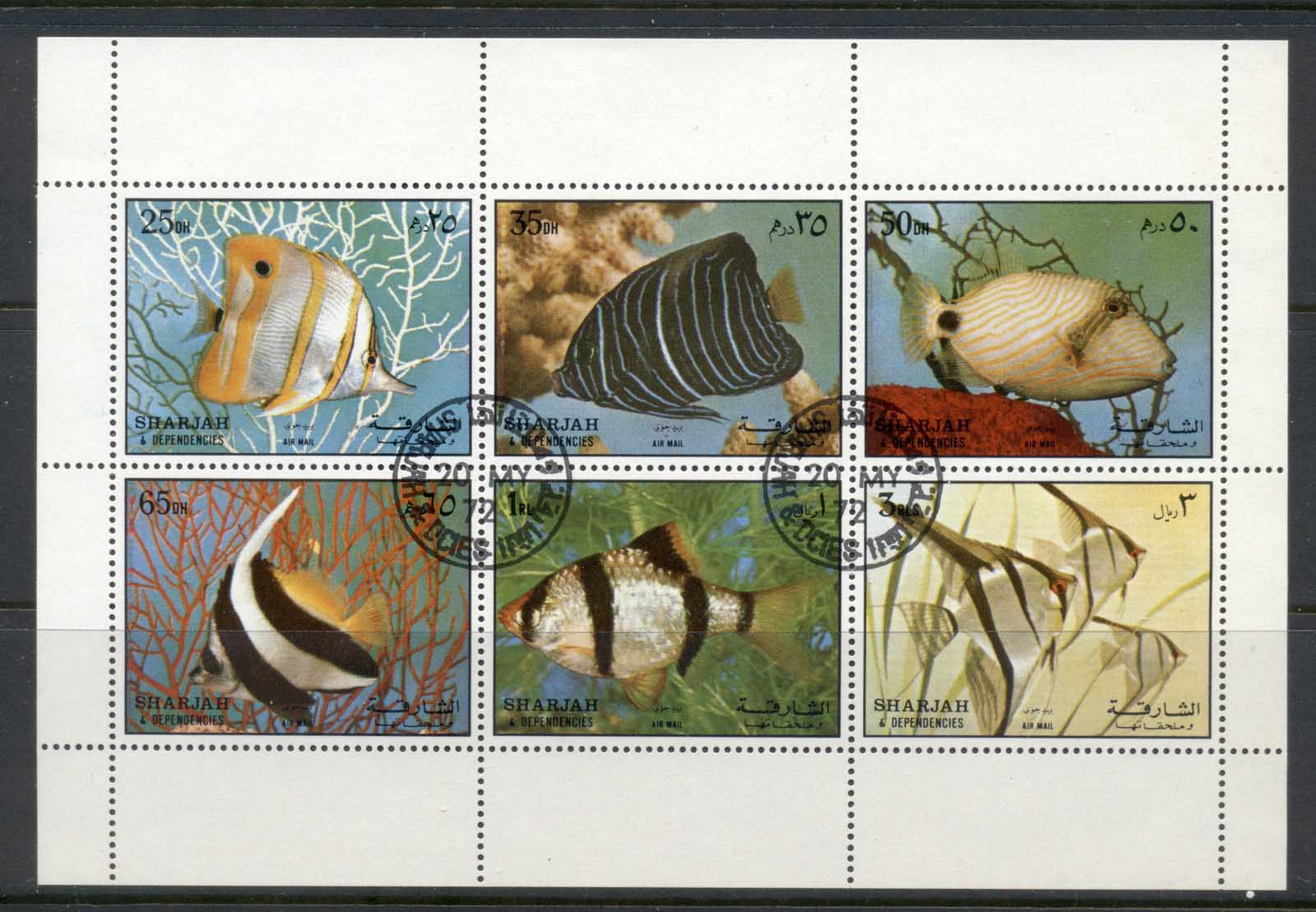Sharjah 1972 Mi#1194-1199 Fish MS CTO