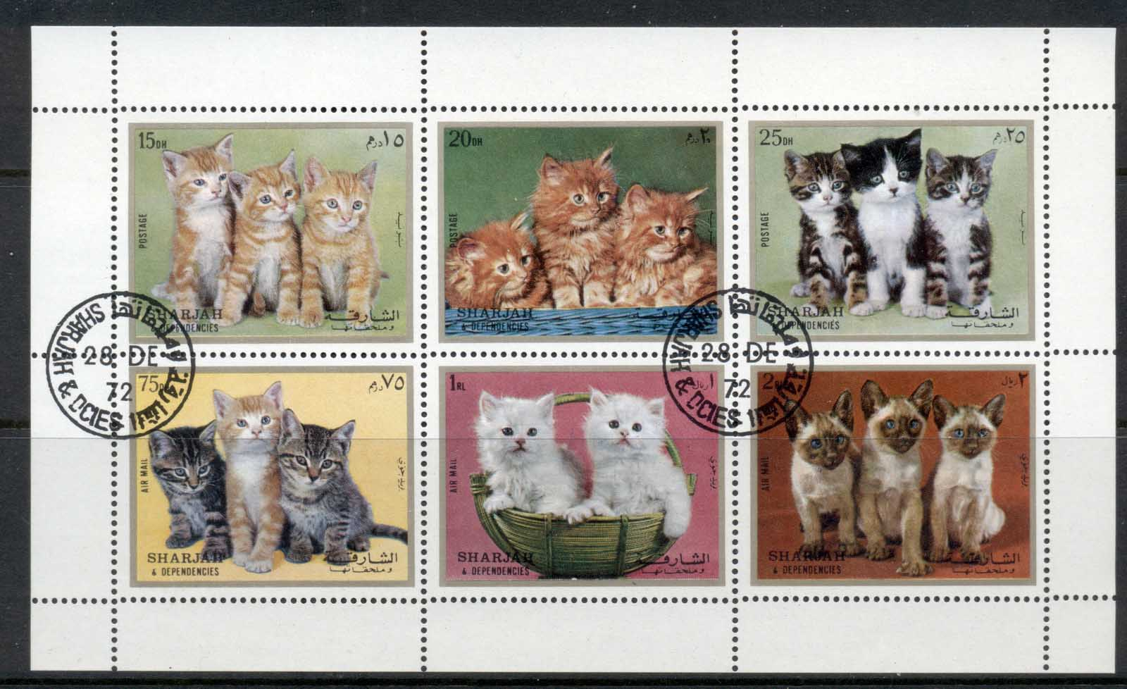 Sharjah 1972 Mi#1386-1391 Kittens, Cats MS CTO