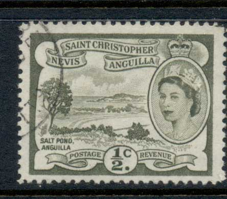 St Christopher Nevis Anguilla 1954-57 QEII Pictorial 0.5c FU