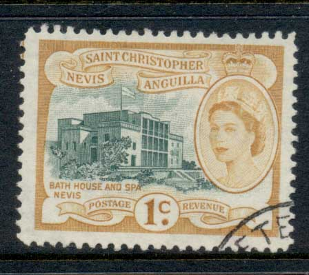 St Christopher Nevis Anguilla 1954-57 QEII Pictorial 1c FU
