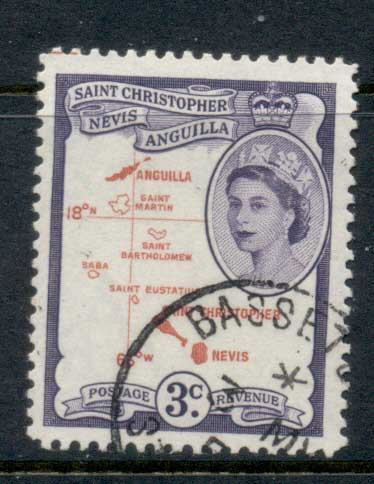 St Christopher Nevis Anguilla 1954-57 QEII Pictorial 3c FU