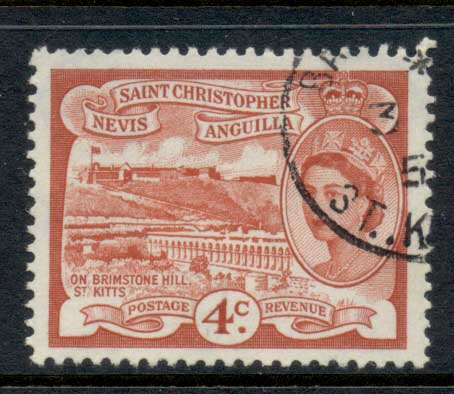 St Christopher Nevis Anguilla 1954-57 QEII Pictorial 4c FU