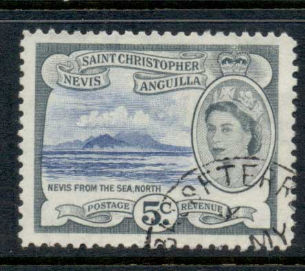 St Christopher Nevis Anguilla 1954-57 QEII Pictorial 5c FU