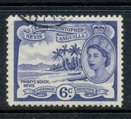 St Christopher Nevis Anguilla 1954-57 QEII Pictorial 6c FU