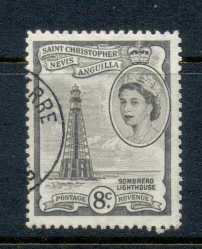 St Christopher Nevis Anguilla 1954-57 QEII Pictorial 8c FU