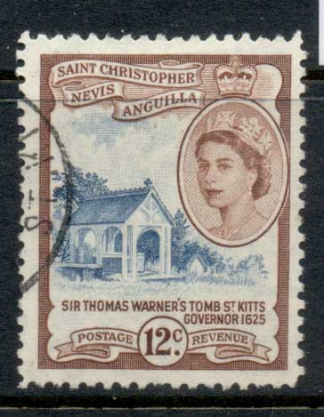 St Christopher Nevis Anguilla 1954-57 QEII Pictorial 12c FU