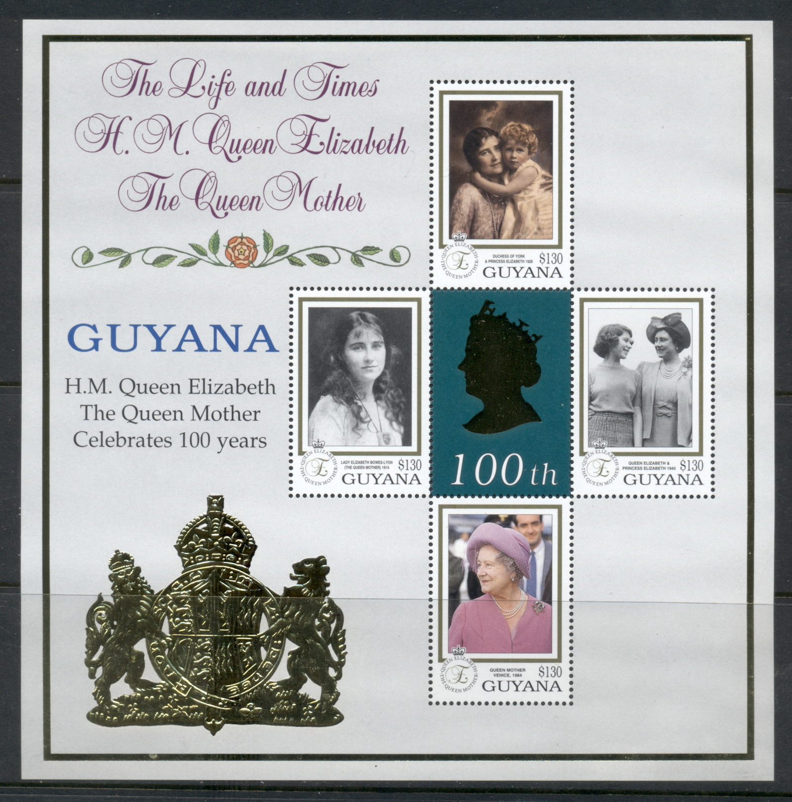Guyana 1999 Queen Mother 100th Birthday gold foil embossed MS MUH