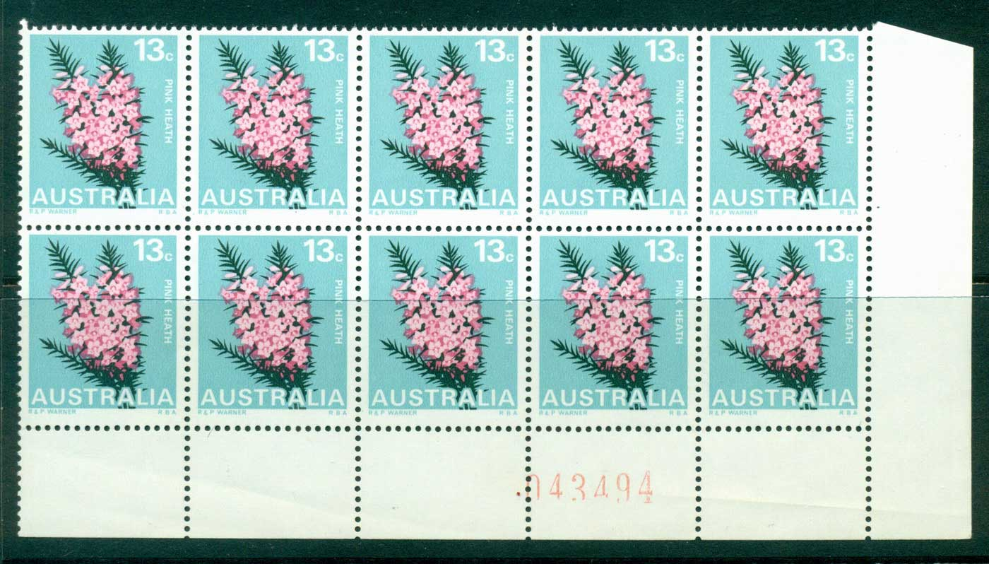 Australia 1968-74 13c Pink Heath Sheet # Blk 10 MUH Lot29699