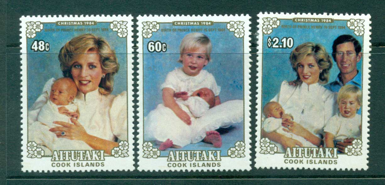Aitutaki 1984 Diana, Henry, Willian & Charles MUH Lot30000