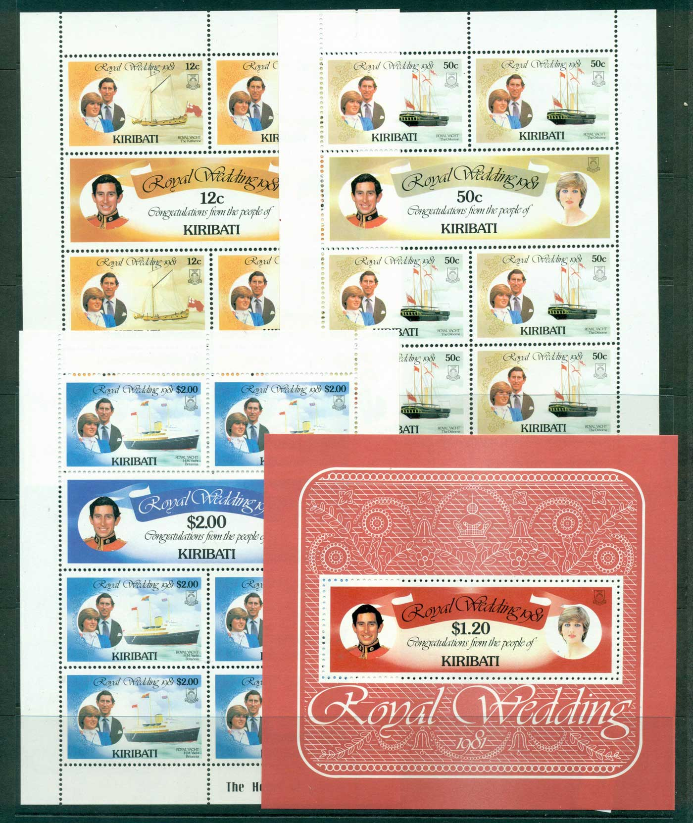 Kiribati 1981 Charles Diana Wedding Sheetlets 3 + MS MUH Lot30034