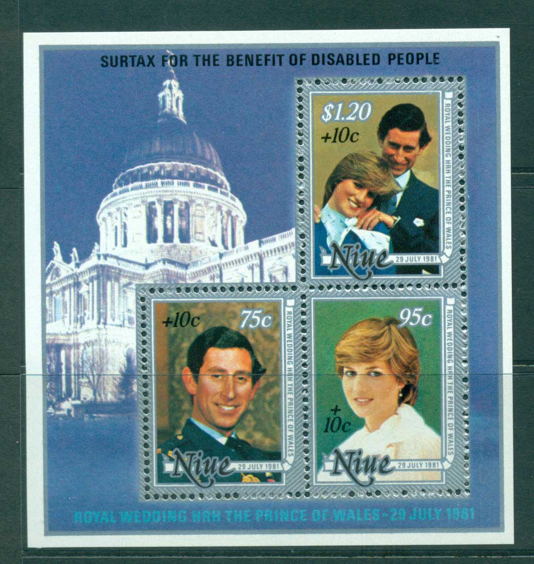 Niue 1981 Charles & Diana Wedding Surch MS MUH Lot30046