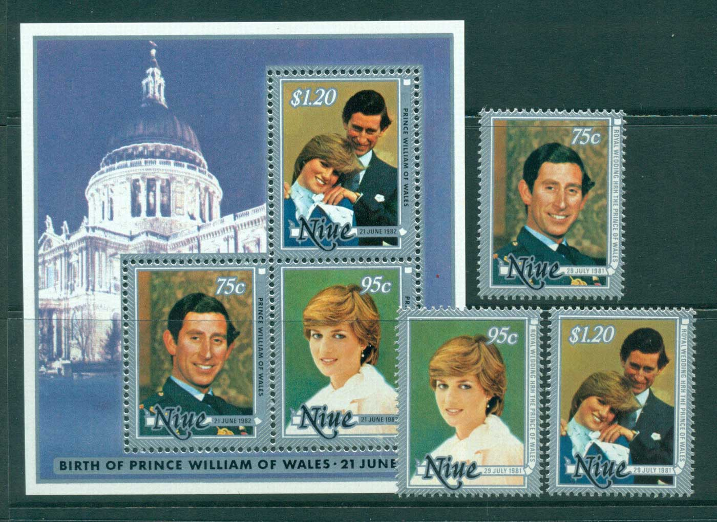 Niue 1981 Charles & Diana Wedding + MS MUH Lot30048