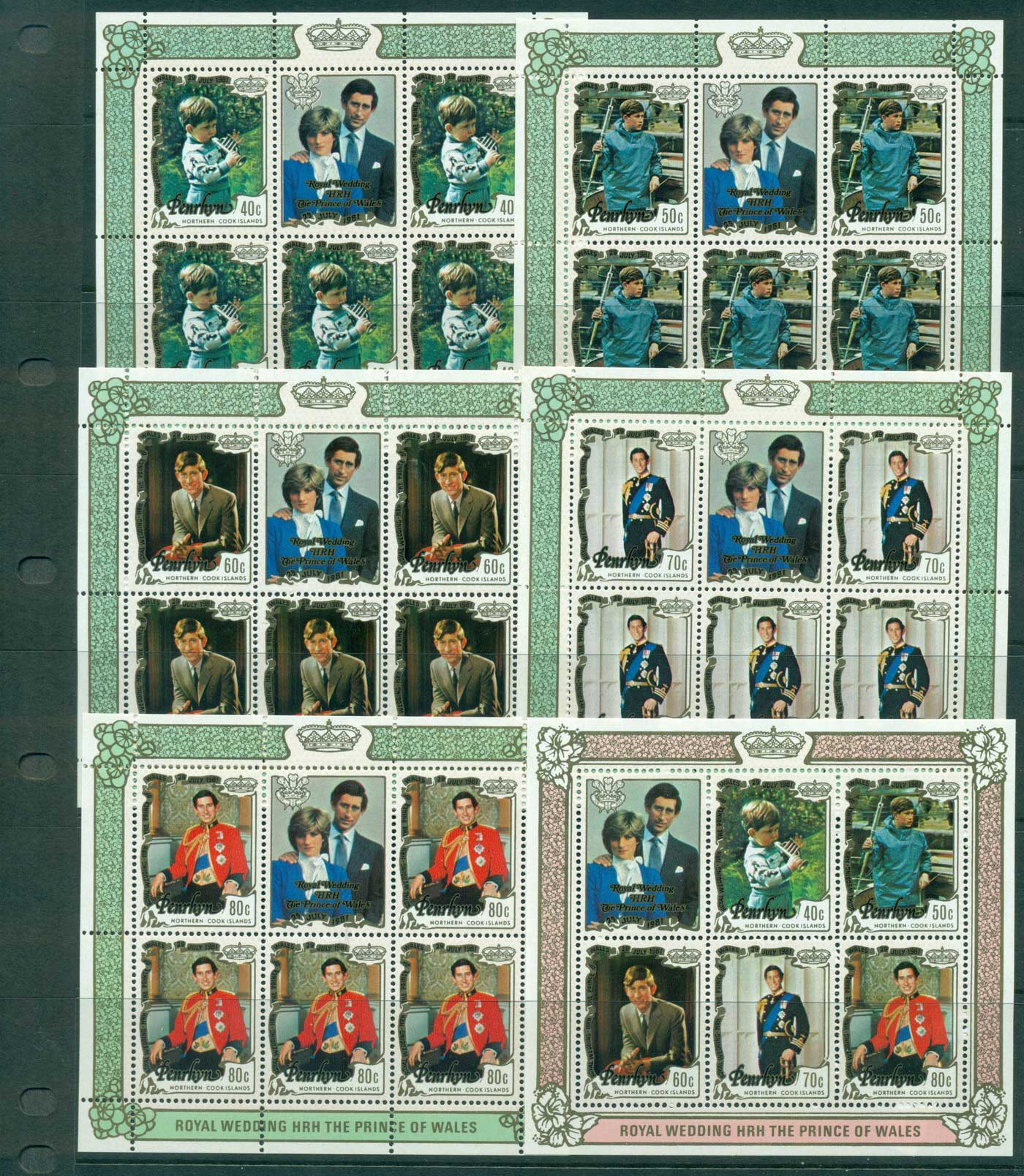 Penrhyn Is 1981 Charles & Diana Wedding 6x MS MUH Lot30070