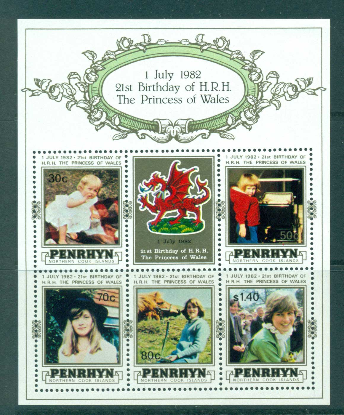 Penrhyn Is 1982 Diana Birthday MS MUH Lot30071
