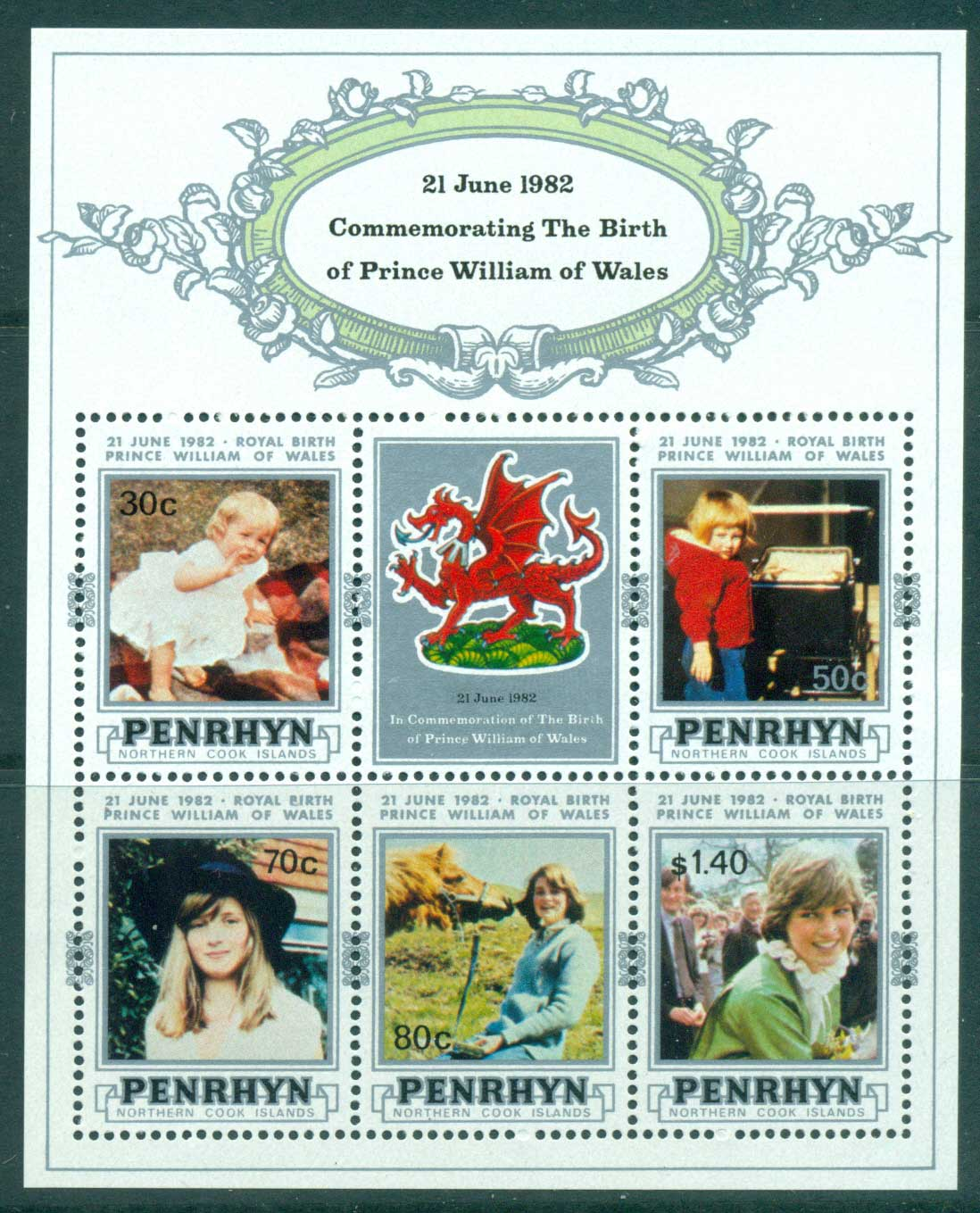 Penrhyn Is 1982 Birth of Prince William MS MUH Lot30072
