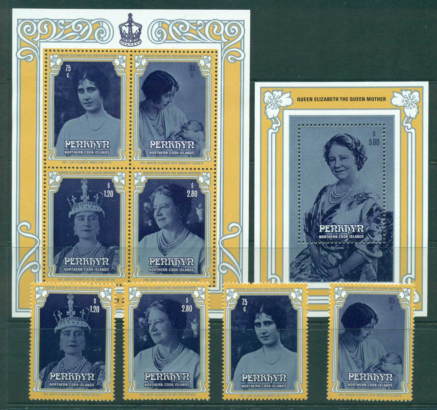 Penrhyn Is 1985 Queen Mother 85th Birthday + MS(2) MUH Lot30073