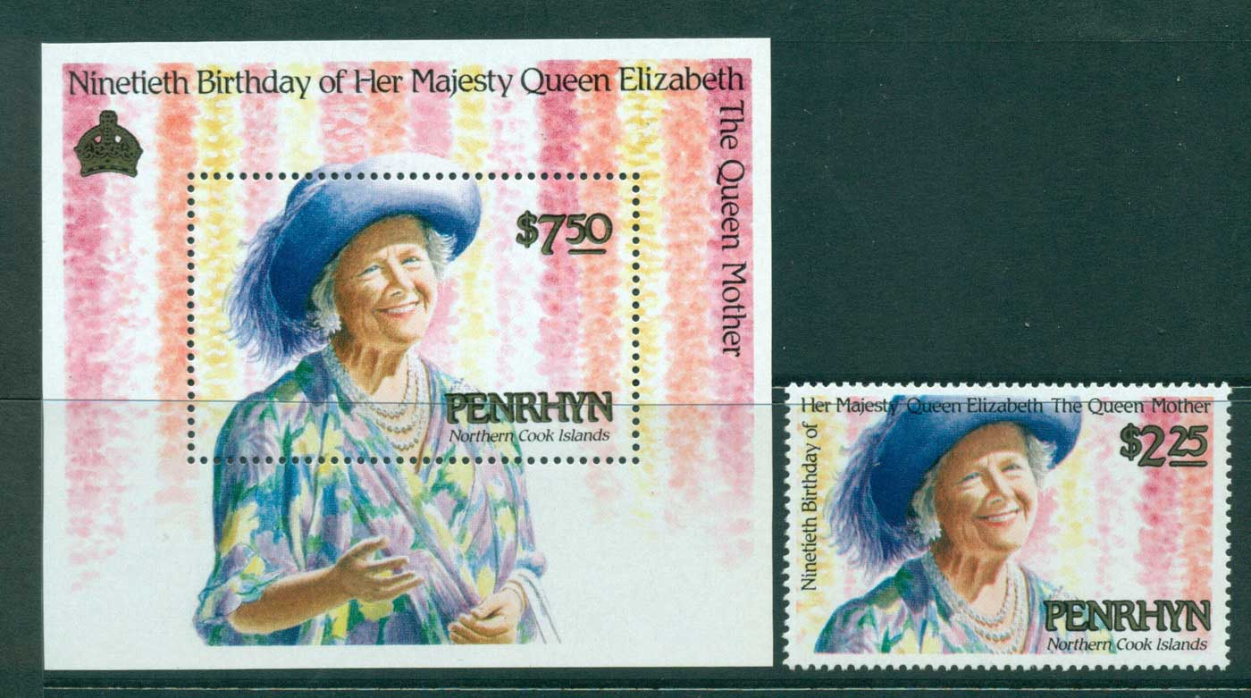 Penrhyn Is 1990 Qeueen Mother 90th Birthday + MS MUH Lot30081