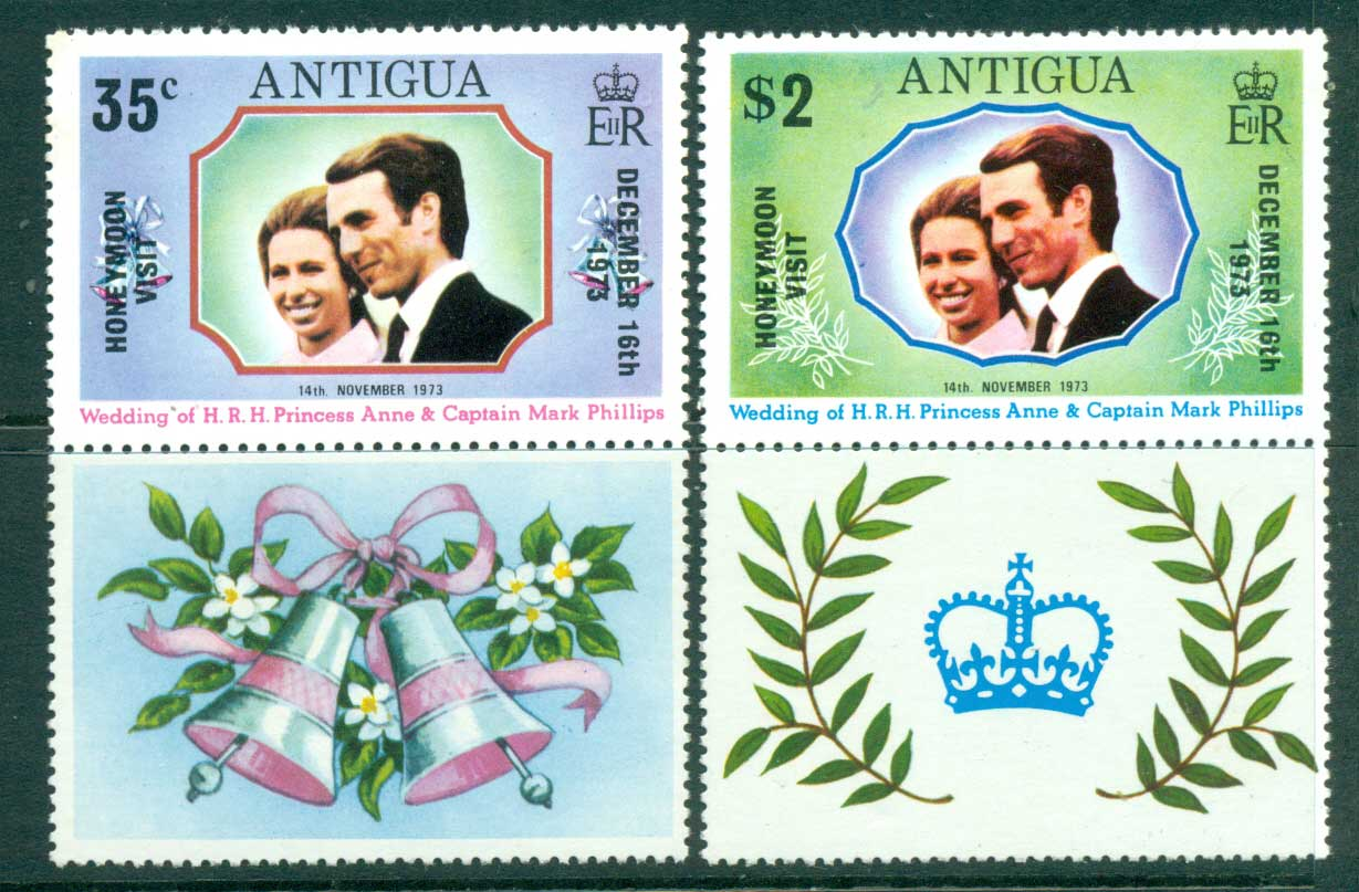 Antigua 1973 Princess Anne Honeymoon Visit + labels MLH Lot30139