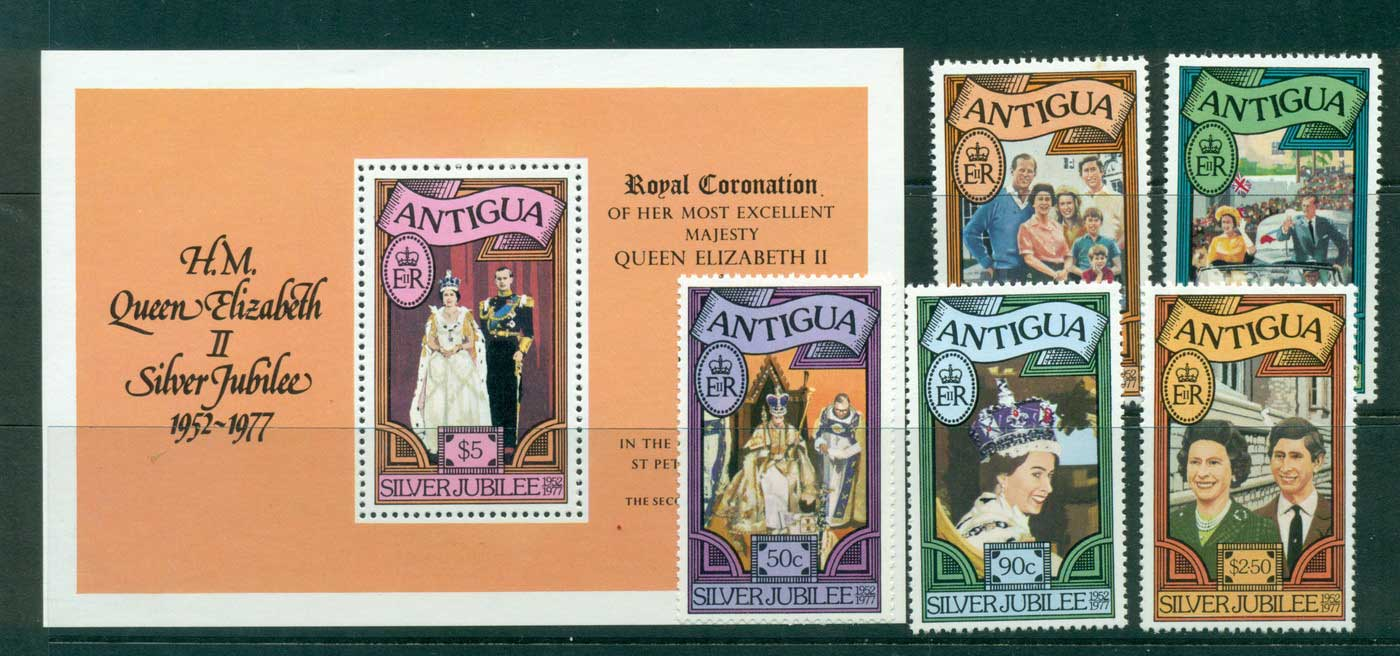 Antigua 1977 Silver Jubilee + MS MUH Lot30140