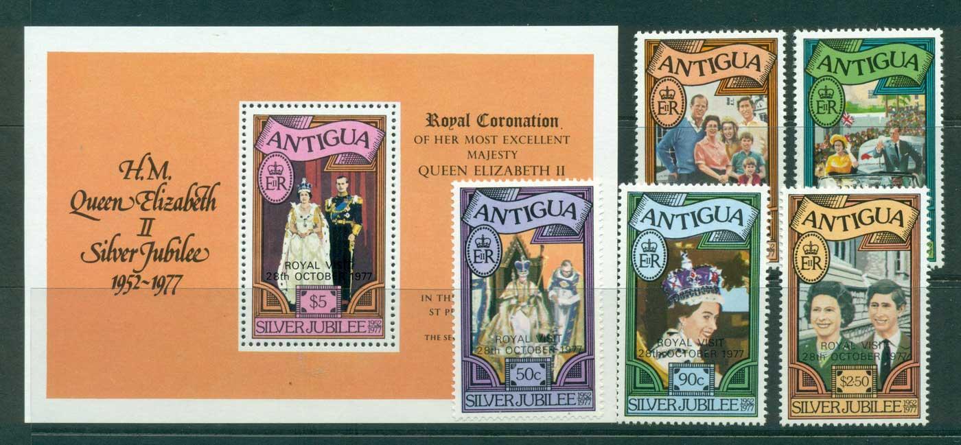 Antigua 1977 Royal Visit + MS MUH Lot30141