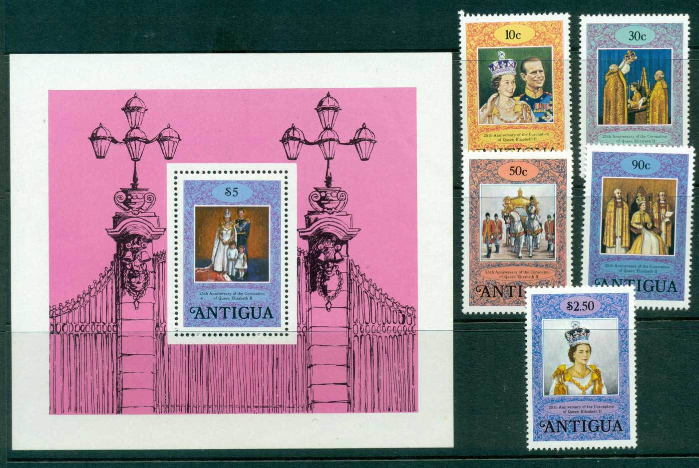 Antigua 1978 25th Anniv Coronation + MS MUH Lot30143