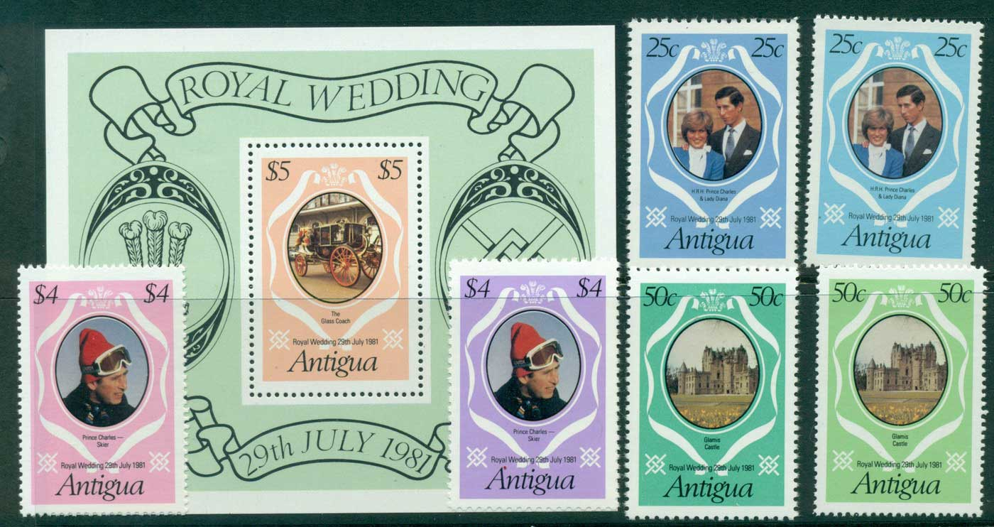Antigua 1981 Charles & Diana Wedding +MS (+ reprint) MUH Lot30144