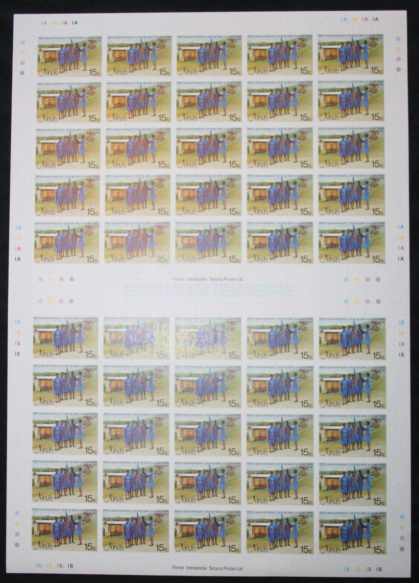 Nevis 1985 Girl Guides IMPERFORATE sheets, 15c, 60c, $1, $3, ex Format International Liquidation sale, late 1980s. MUH Lot30470