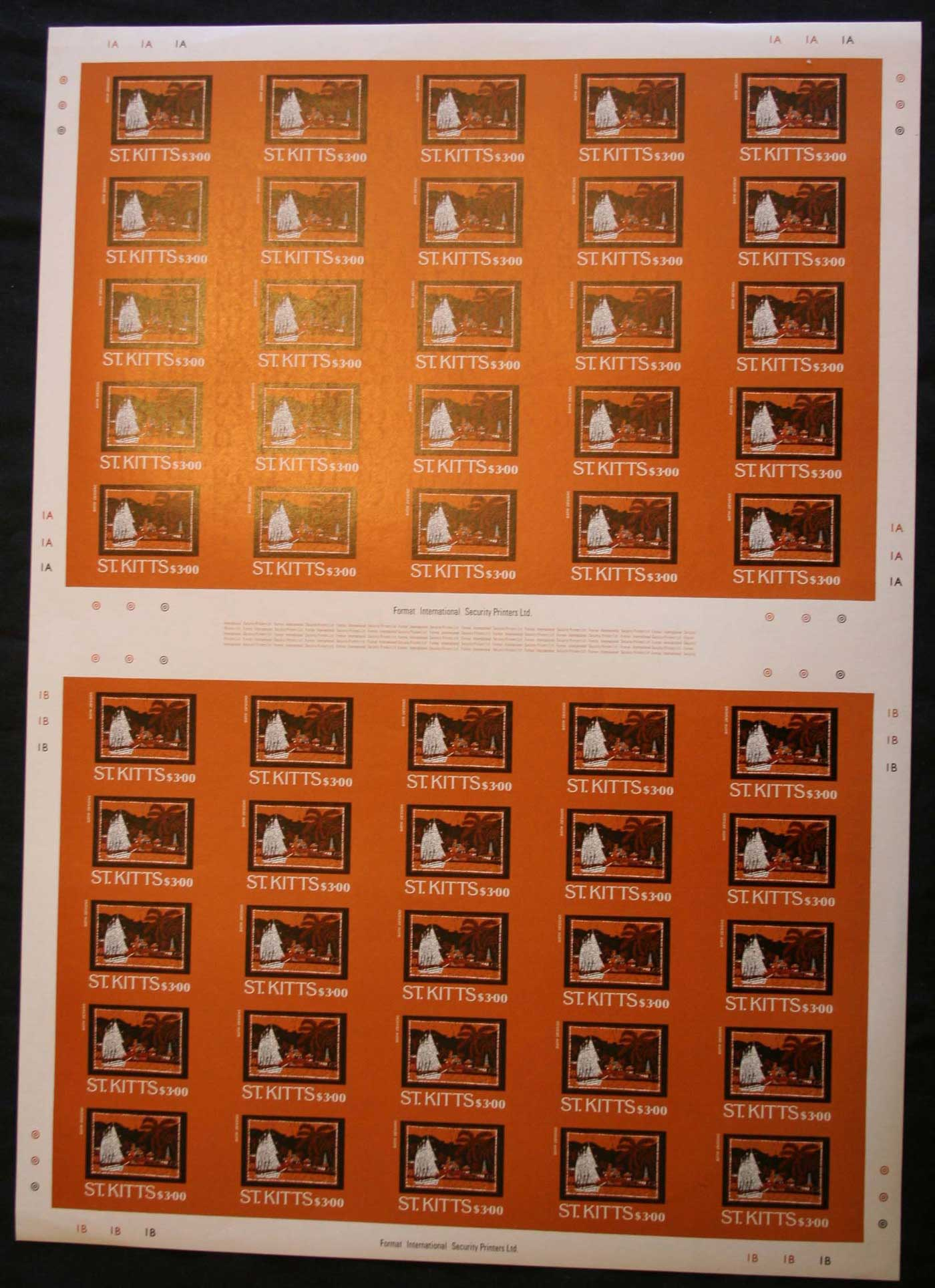St Kitts 1985 Batik Art IMPERFORATE sheets, 15c, 40c, 60c, $3, issued 2/6/85, ex Format International Liquidation sale, late 198