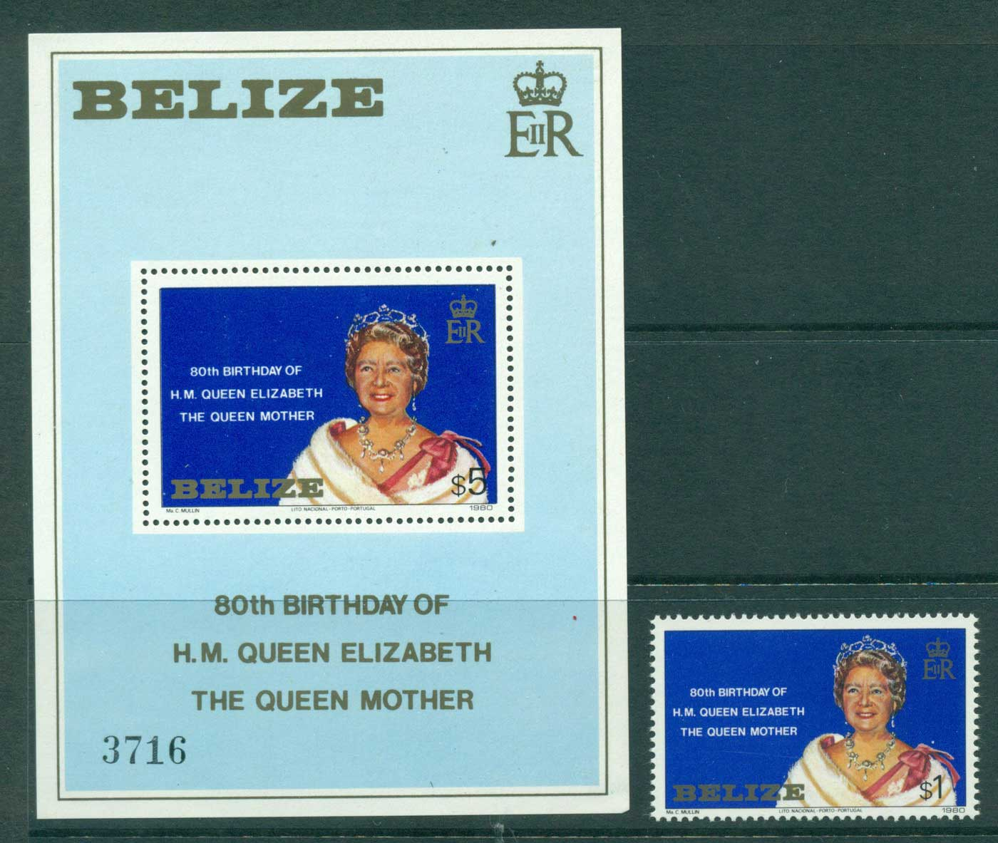 Belize 1980 Queen Mother 80th Birthday + MS MUH Lot30186