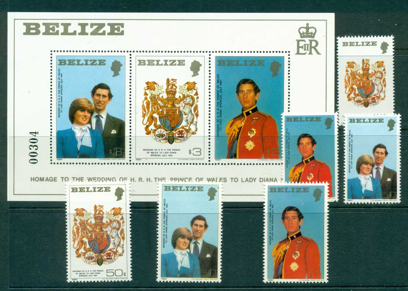 Belize 1981 Charles & Diana Wedding + MS MUH Lot30187